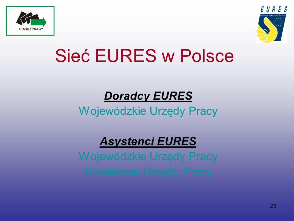23 Sieć EURES w Polsce Doradcy EURES Wojewódzkie Urzędy Pracy Asystenci EURES Wojewódzkie Urzędy Pracy Powiatowe Urzędy Pracy