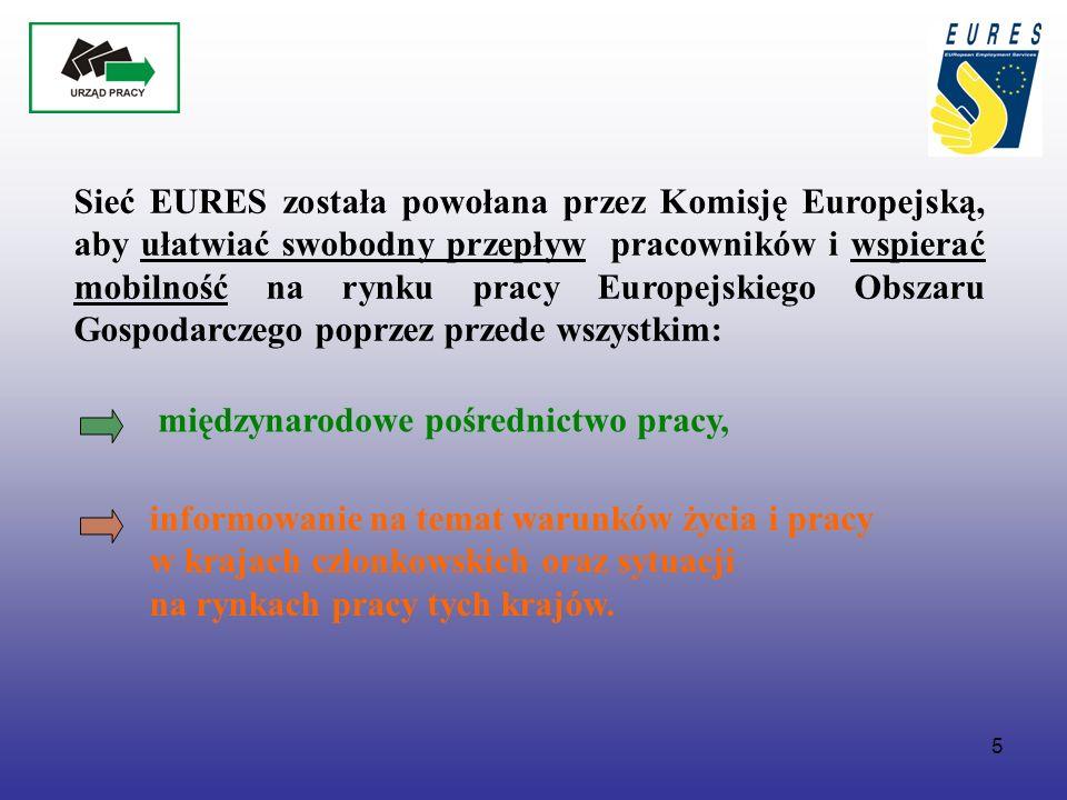 5 Sieć EURES została powołana przez Komisję Europejską, aby ułatwiać swobodny przepływ pracowników i wspierać mobilność na rynku pracy Europejskiego Obszaru Gospodarczego poprzez przede wszystkim: międzynarodowe pośrednictwo pracy, informowanie na temat warunków życia i pracy w krajach członkowskich oraz sytuacji na rynkach pracy tych krajów.