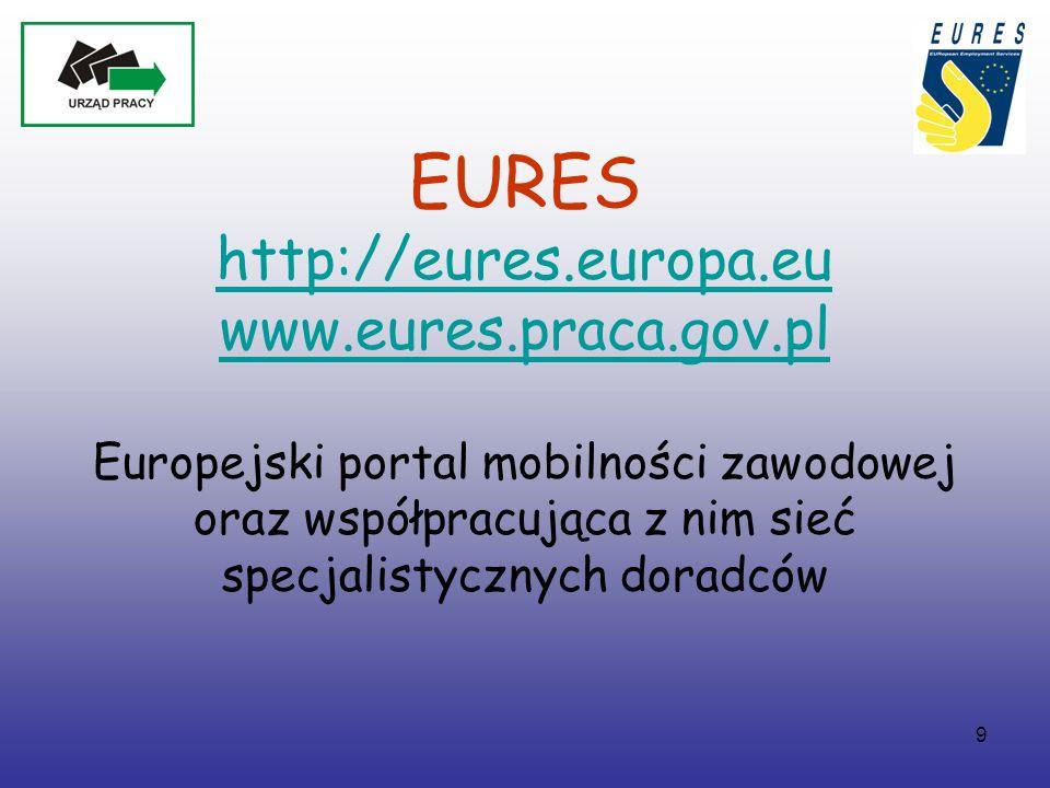9 EURES http://eures.europa.eu www.eures.praca.gov.pl Europejski portal mobilności zawodowej oraz współpracująca z nim sieć specjalistycznych doradców http://eures.europa.eu www.eures.praca.gov.pl