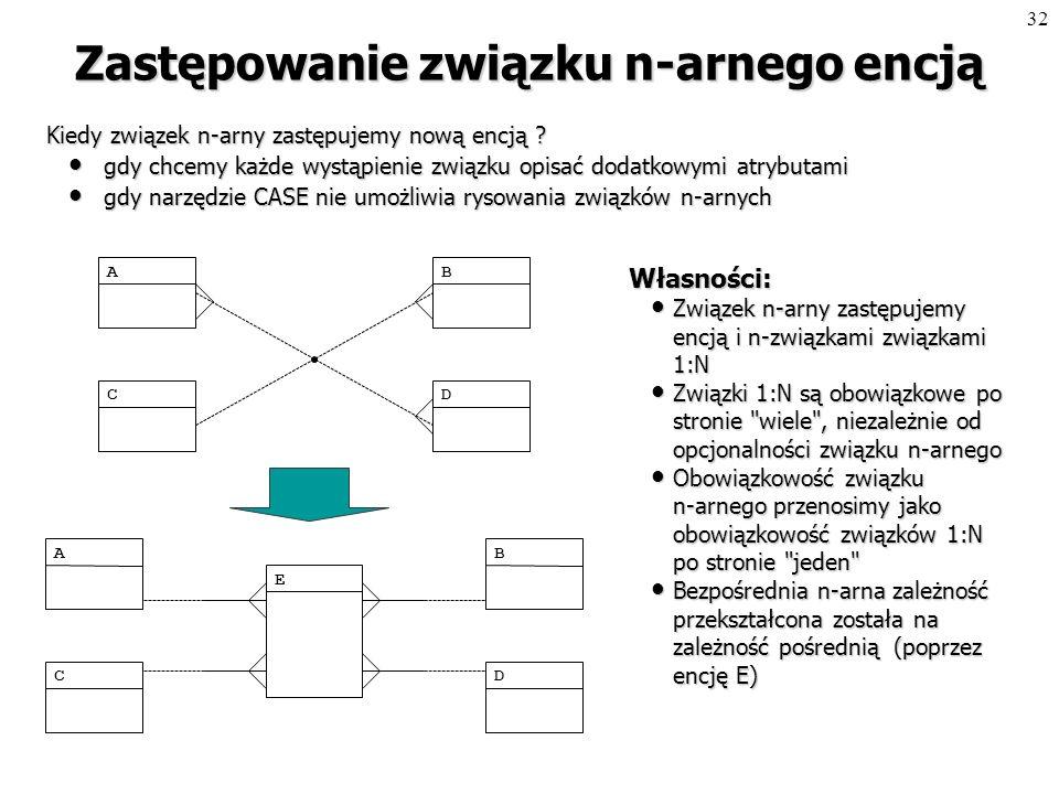 31 Zastępowanie związku M:N encją Kiedy zastępujemy związek M:N nową encją .