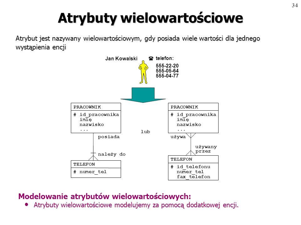 33 Atrybuty złożone Atrybut jest nazywany złożonym, gdy jego wartość dla jednego wystąpienia encji jest złożeniem kilku bardziej elementarnych wartości.