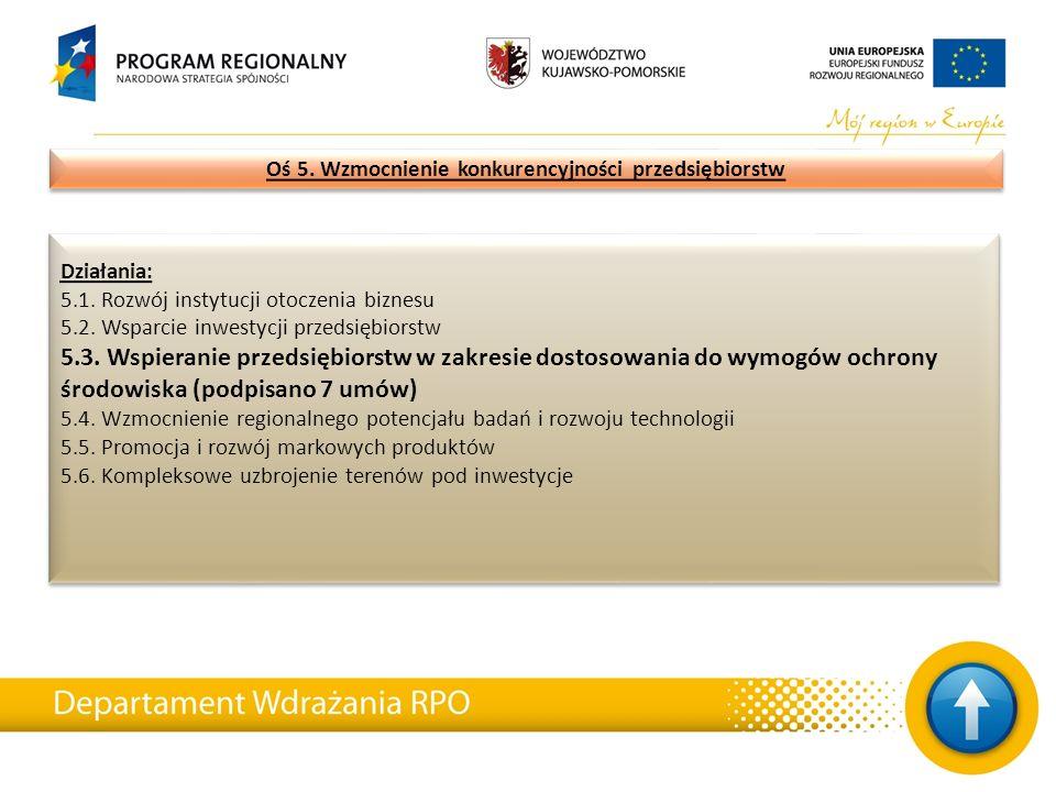 Działania: 5.1. Rozwój instytucji otoczenia biznesu 5.2. Wsparcie inwestycji przedsiębiorstw 5.3. Wspieranie przedsiębiorstw w zakresie dostosowania d