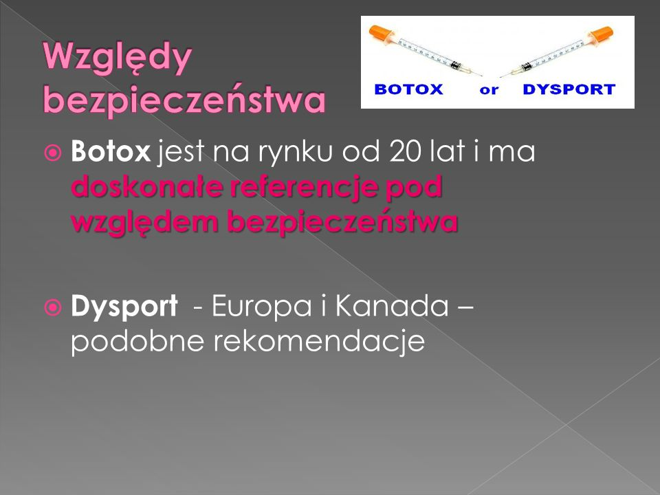 doskonałe referencje pod względem bezpieczeństwa  Botox jest na rynku od 20 lat i ma doskonałe referencje pod względem bezpieczeństwa  Dysport - Europa i Kanada – podobne rekomendacje