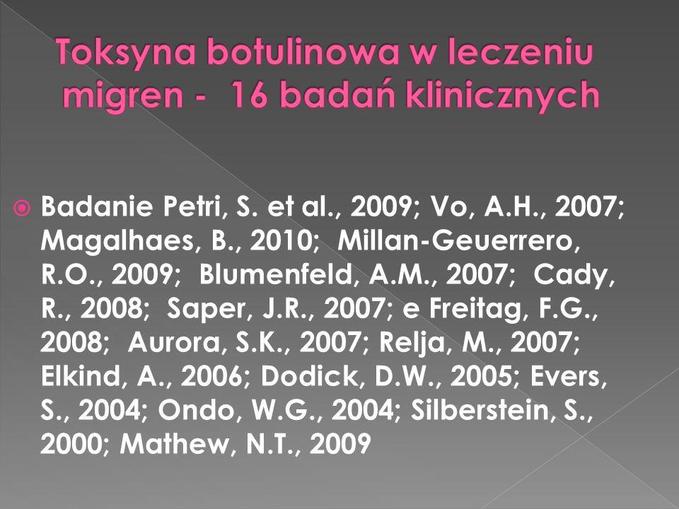  Badanie Petri, S. et al., 2009; Vo, A.H., 2007; Magalhaes, B., 2010; Millan-Geuerrero, R.O., 2009; Blumenfeld, A.M., 2007; Cady, R., 2008; Saper, J.