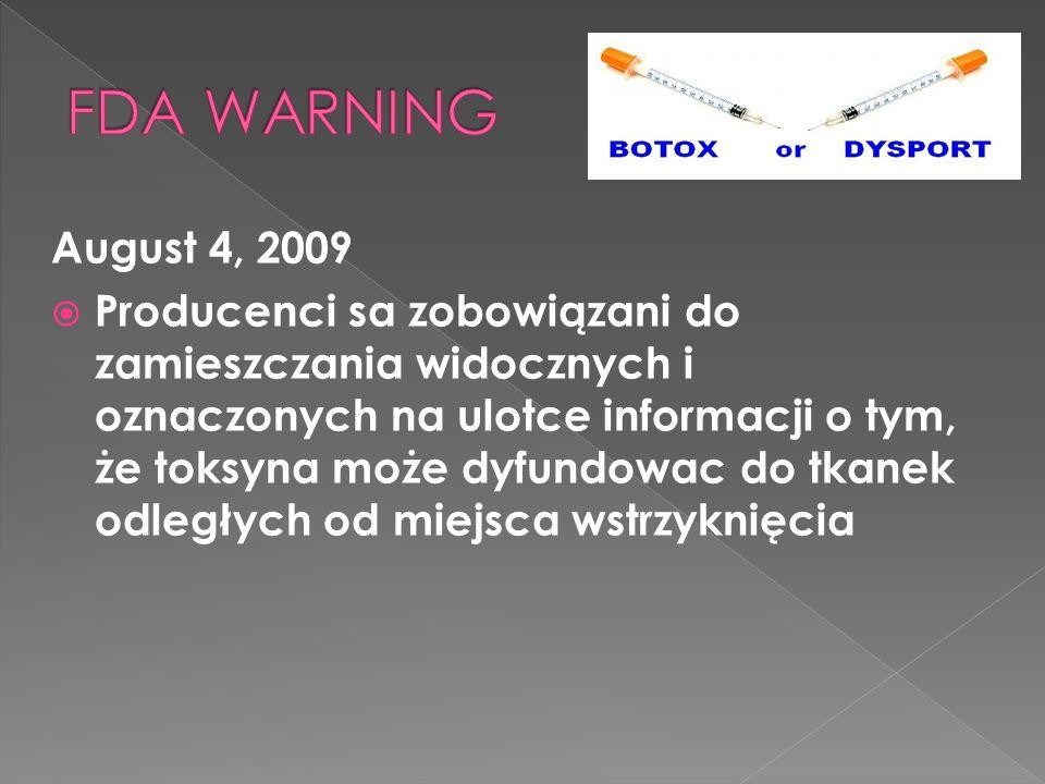 August 4, 2009  Producenci sa zobowiązani do zamieszczania widocznych i oznaczonych na ulotce informacji o tym, że toksyna może dyfundowac do tkanek odległych od miejsca wstrzyknięcia
