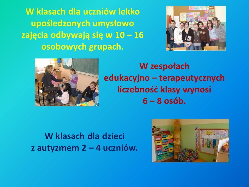 W klasach dla uczniów lekko upośledzonych umysłowo zajęcia odbywają się w 10 – 16 osobowych grupach.