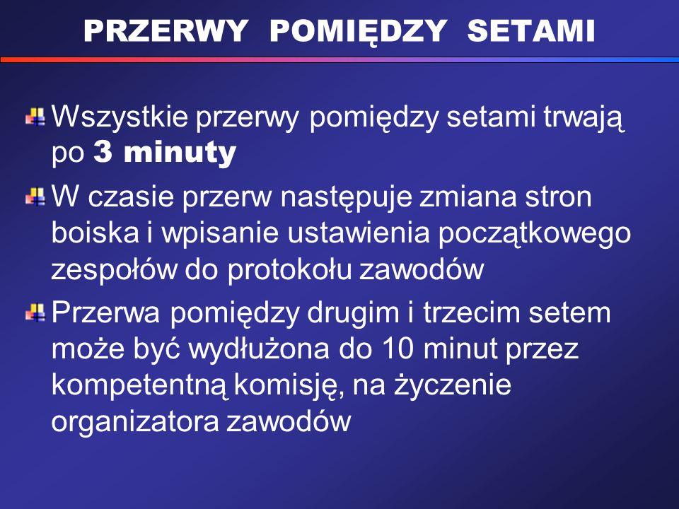 PRZERWY POMIĘDZY SETAMI Wszystkie przerwy pomiędzy setami trwają po 3 minuty W czasie przerw następuje zmiana stron boiska i wpisanie ustawienia począ