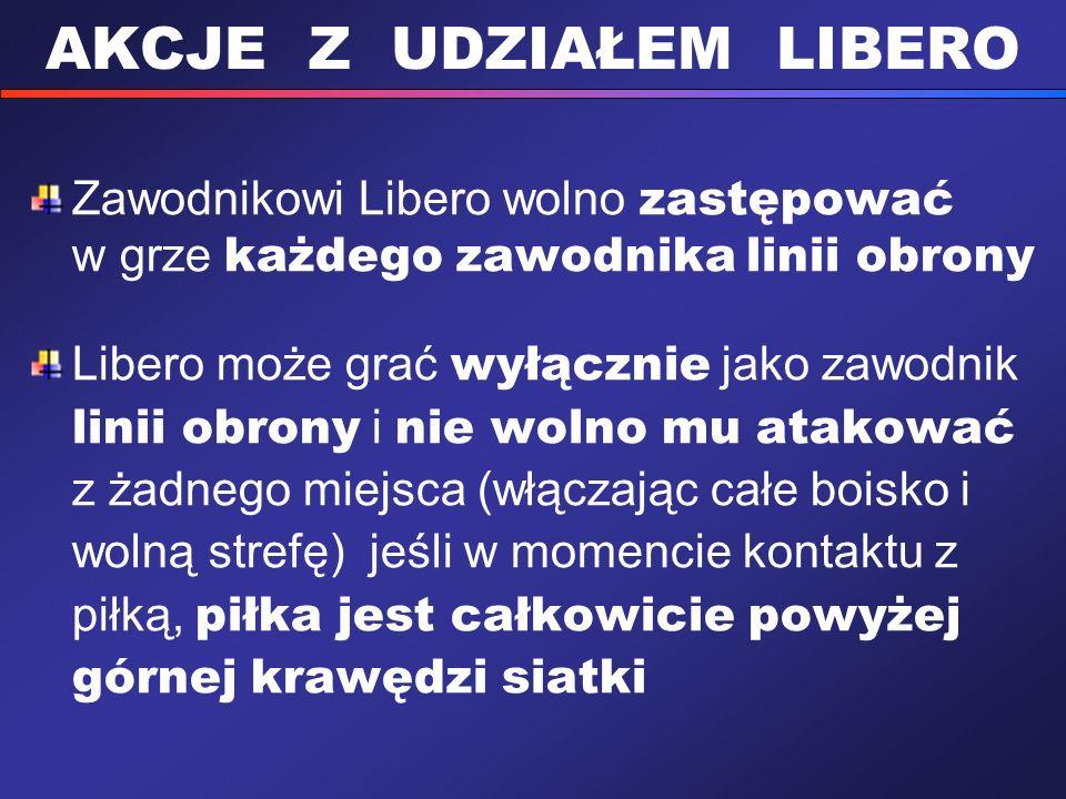 AKCJE Z UDZIAŁEM LIBERO Zawodnikowi Libero wolno zastępować w grze każdego zawodnika linii obrony Libero może grać wyłącznie jako zawodnik linii obron