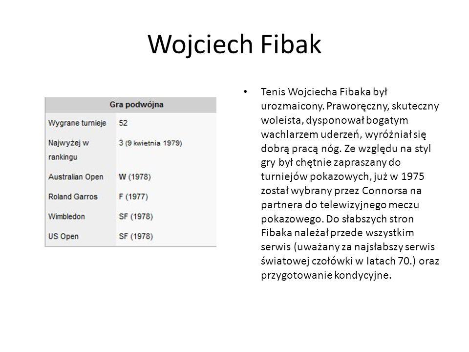 Tenis Wojciecha Fibaka był urozmaicony.