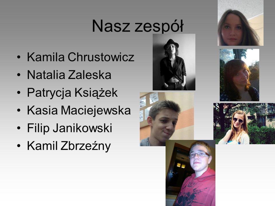 Nasz zespół Kamila Chrustowicz Natalia Zaleska Patrycja Książek Kasia Maciejewska Filip Janikowski Kamil Zbrzeźny