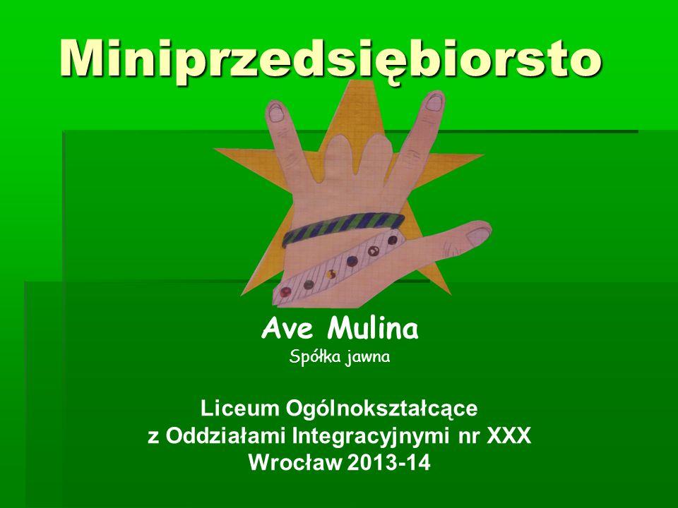 Miniprzedsiębiorsto Ave Mulina Spółka jawna Liceum Ogólnokształcące z Oddziałami Integracyjnymi nr XXX Wrocław 2013-14