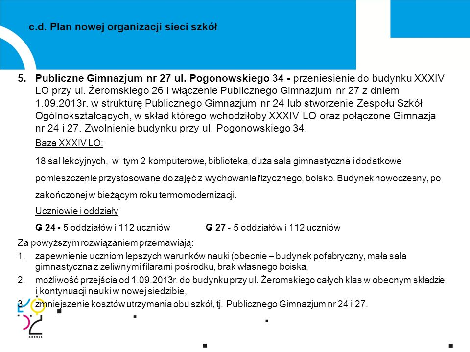 c.d. Plan nowej organizacji sieci szkół 5.Publiczne Gimnazjum nr 27 ul.