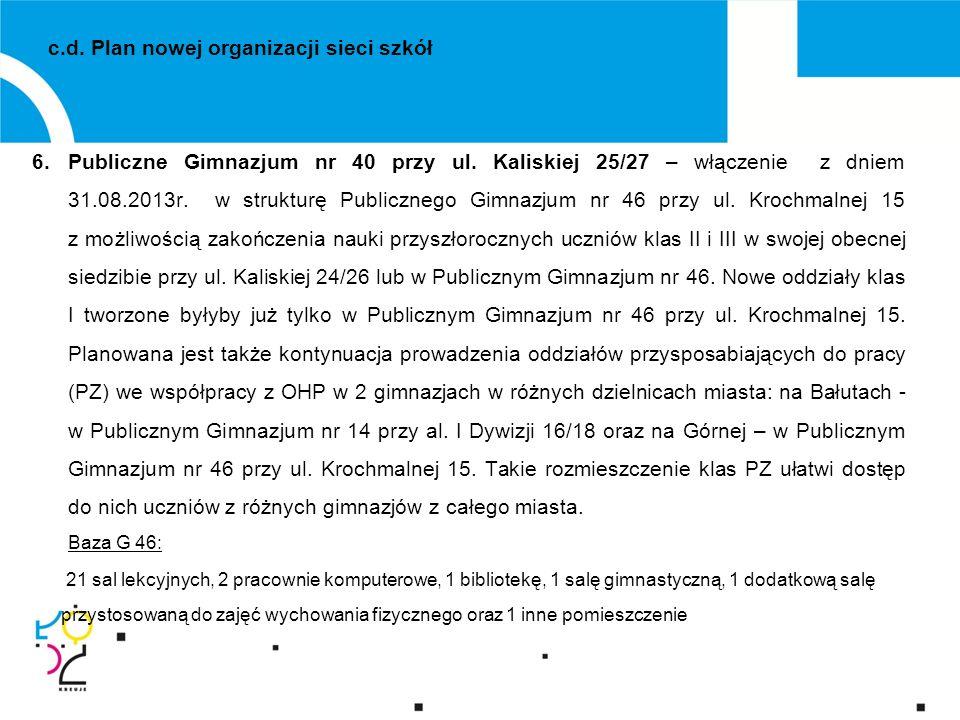 6.Publiczne Gimnazjum nr 40 przy ul. Kaliskiej 25/27 – włączenie z dniem 31.08.2013r.