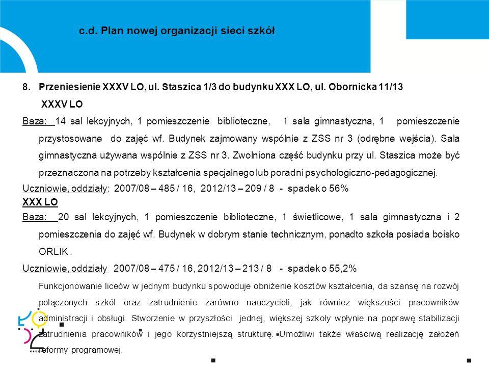 8.Przeniesienie XXXV LO, ul. Staszica 1/3 do budynku XXX LO, ul.