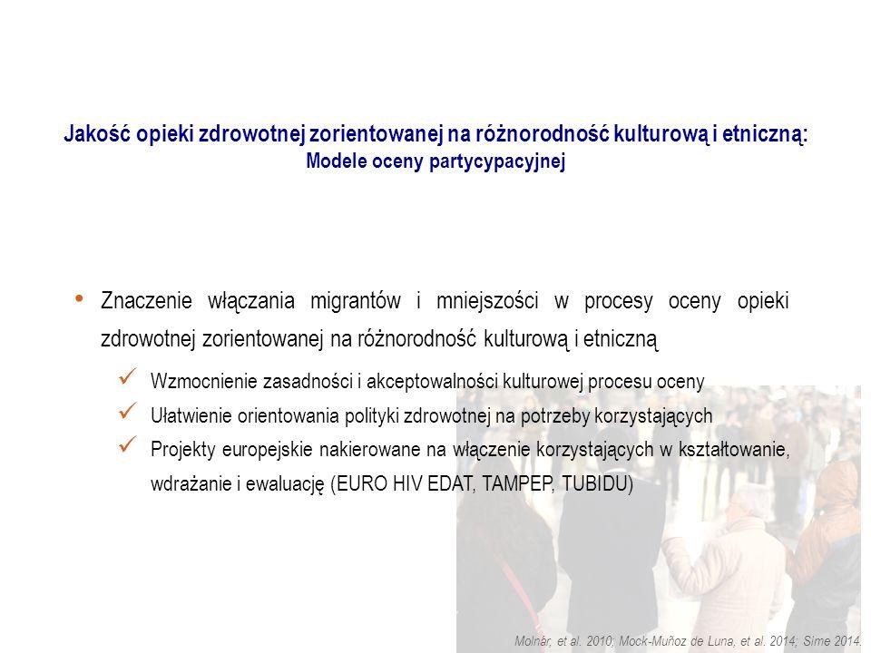Znaczenie włączania migrantów i mniejszości w procesy oceny opieki zdrowotnej zorientowanej na różnorodność kulturową i etniczną Wzmocnienie zasadności i akceptowalności kulturowej procesu oceny Ułatwienie orientowania polityki zdrowotnej na potrzeby korzystających Projekty europejskie nakierowane na włączenie korzystających w kształtowanie, wdrażanie i ewaluację (EURO HIV EDAT, TAMPEP, TUBIDU) Molnár, et al.