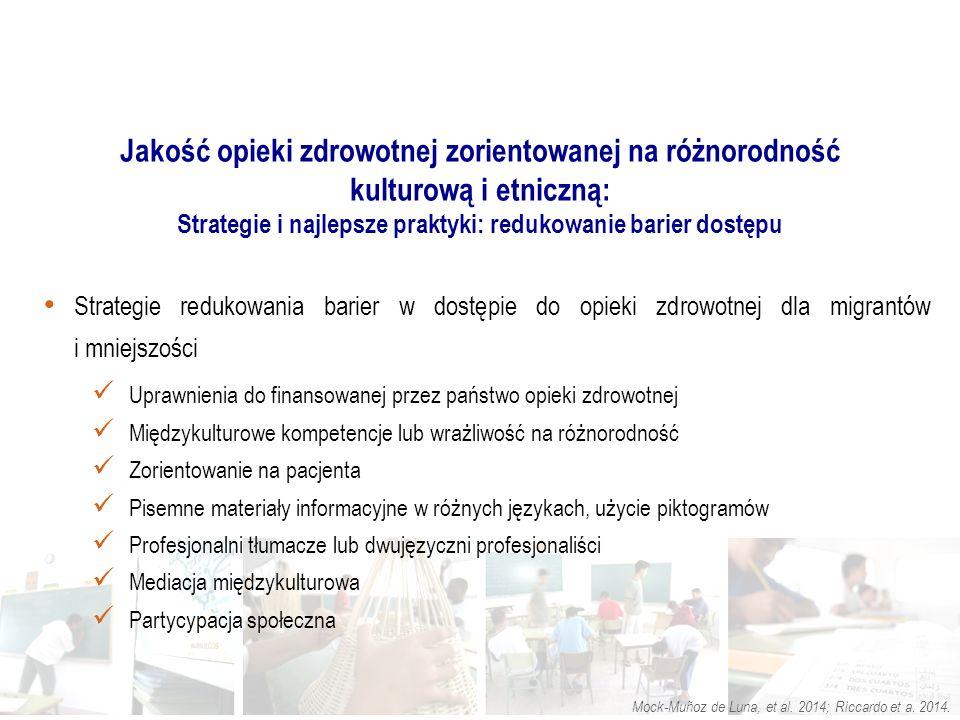 Strategie redukowania barier w dostępie do opieki zdrowotnej dla migrantów i mniejszości Uprawnienia do finansowanej przez państwo opieki zdrowotnej Międzykulturowe kompetencje lub wrażliwość na różnorodność Zorientowanie na pacjenta Pisemne materiały informacyjne w różnych językach, użycie piktogramów Profesjonalni tłumacze lub dwujęzyczni profesjonaliści Mediacja międzykulturowa Partycypacja społeczna.