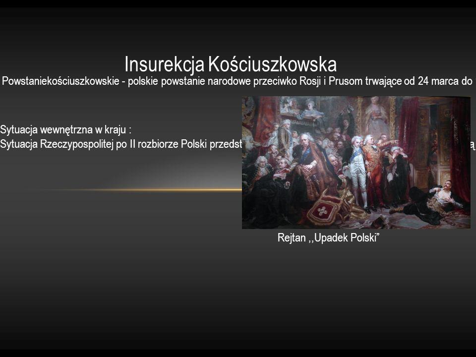 Insurekcja Kościuszkowska Powstaniekościuszkowskie - polskie powstanie narodowe przeciwko Rosji i Prusom trwające od 24 marca do 16 listopada 1794 rok