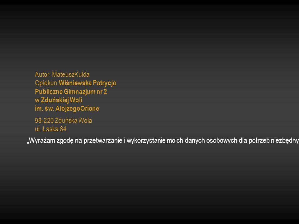 """Autor: MateuszKulda Opiekun: Wiśniewska Patrycja Publiczne Gimnazjum nr 2 w Zduńskiej Woli im. św. AlojzegoOrione 98-220 Zduńska Wola ul. Łaska 84 """"Wy"""