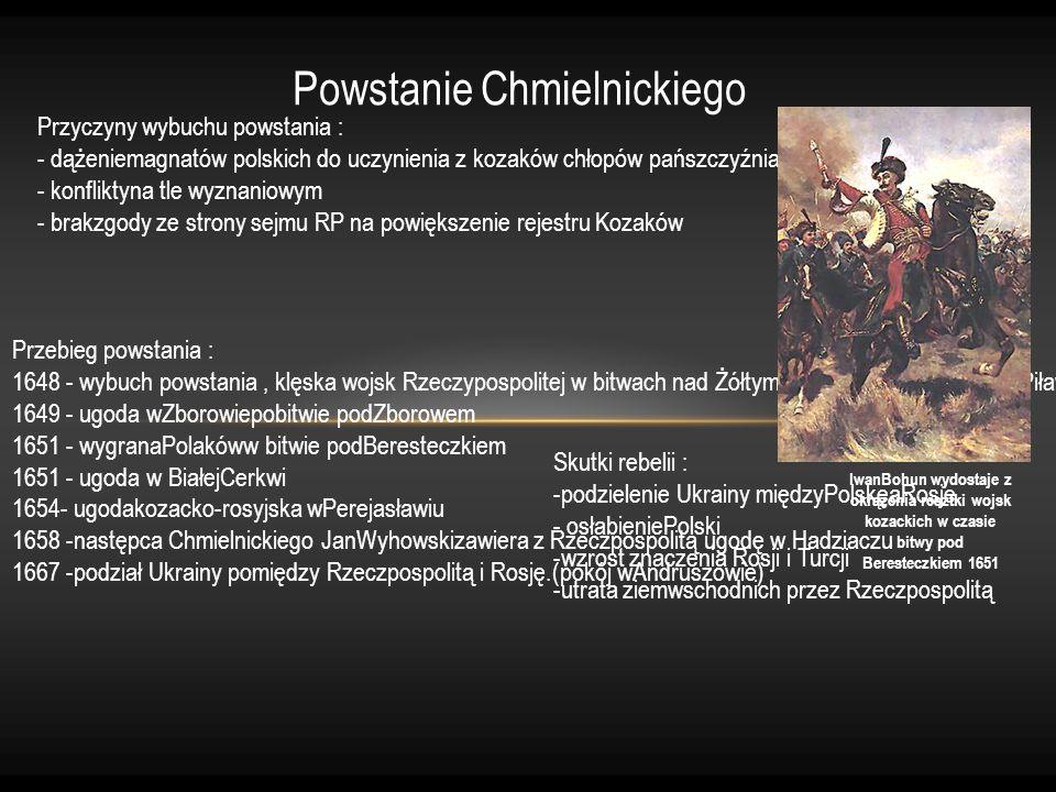 IwanBohun wydostaje z okrążenia resztki wojsk kozackich w czasie bitwy pod Beresteczkiem 1651 Powstanie Chmielnickiego Przebieg powstania : 1648 - wyb