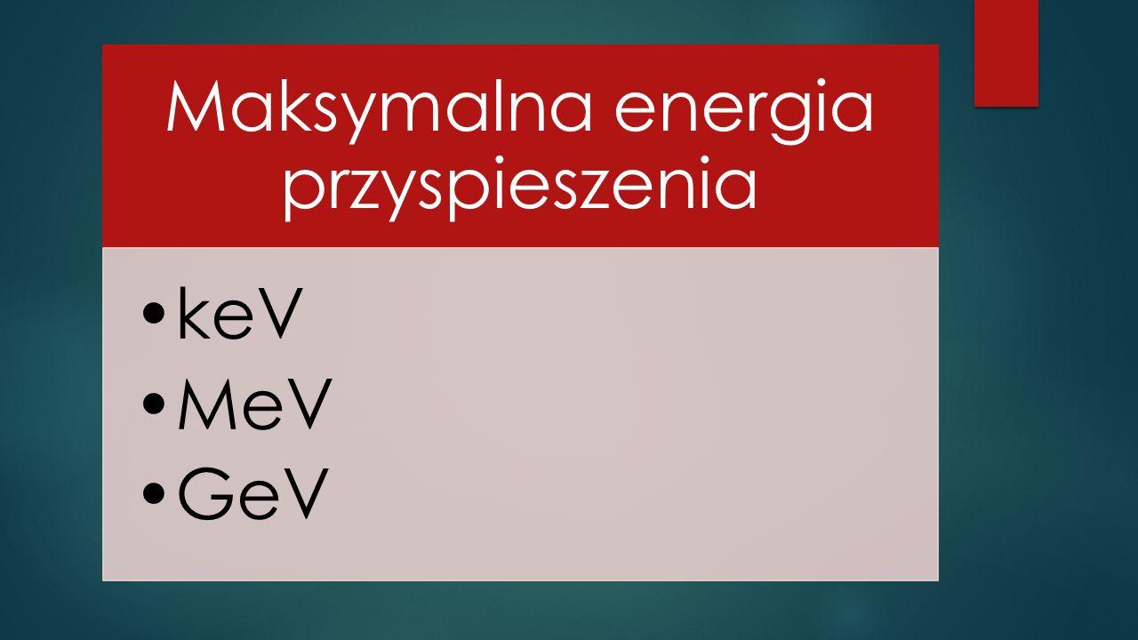 Maksymalna energia przyspieszenia keV MeV GeV