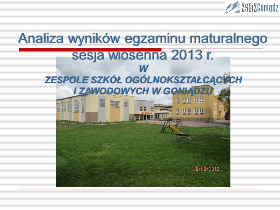 Analiza wyników egzaminu maturalnego sesja wiosenna 2013 r.