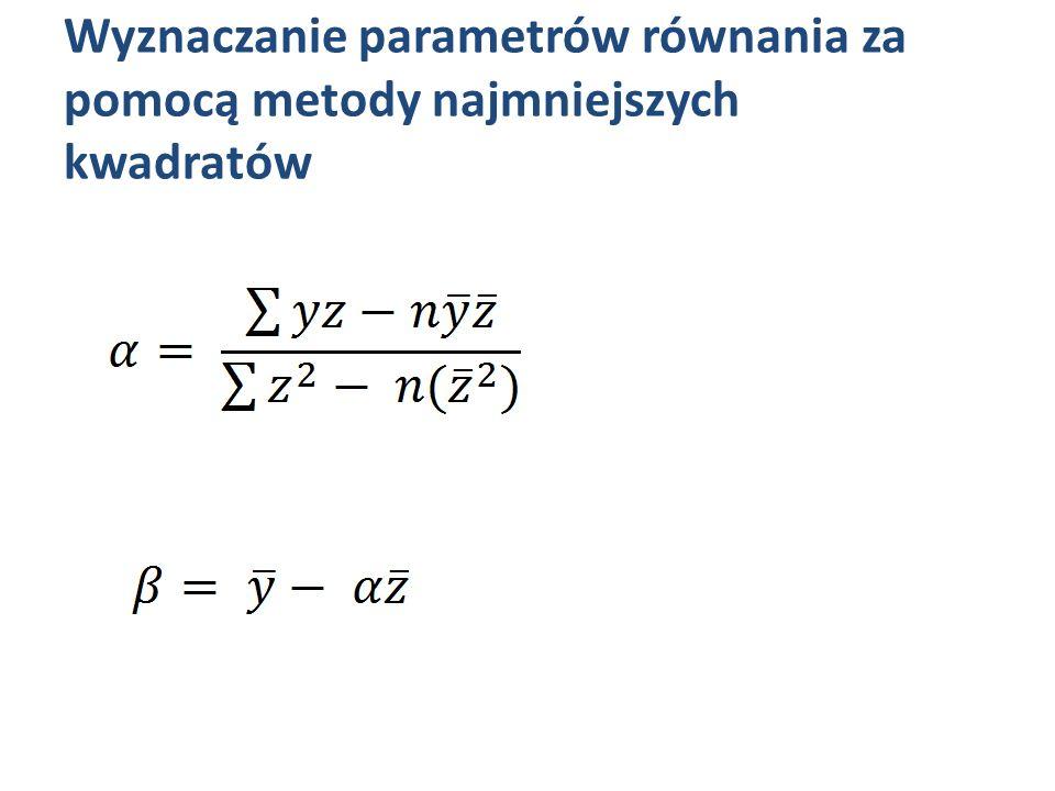 Wyznaczanie parametrów równania za pomocą metody najmniejszych kwadratów