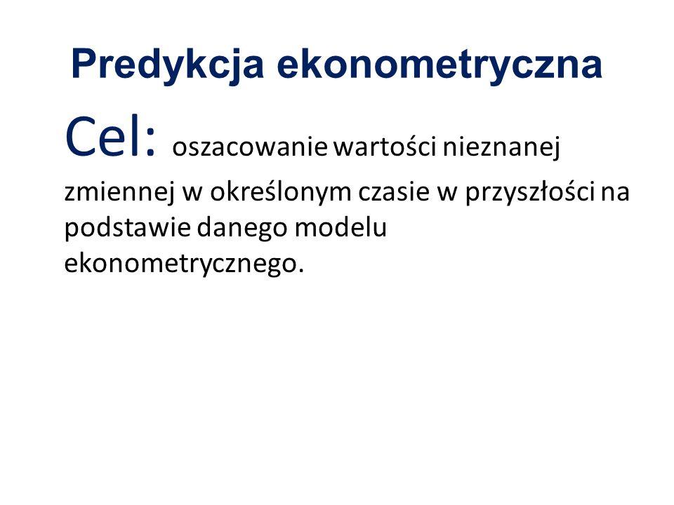 Predykcja ekonometryczna Cel: oszacowanie wartości nieznanej zmiennej w określonym czasie w przyszłości na podstawie danego modelu ekonometrycznego.