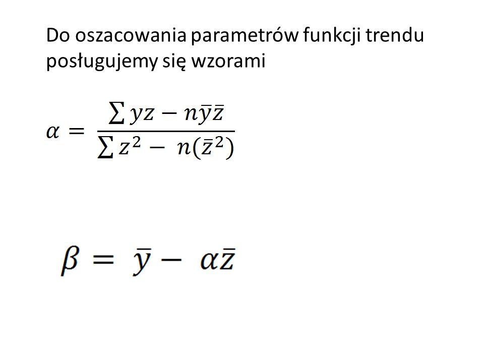 Do oszacowania parametrów funkcji trendu posługujemy się wzorami