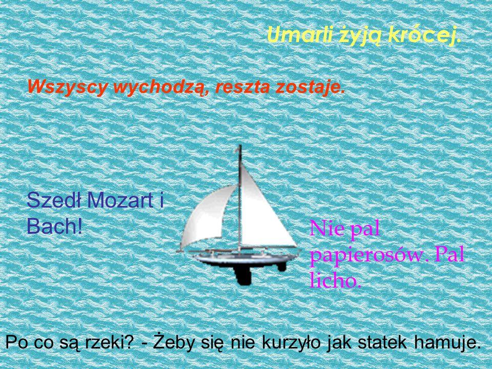 Po co są rzeki. - Żeby się nie kurzyło jak statek hamuje.