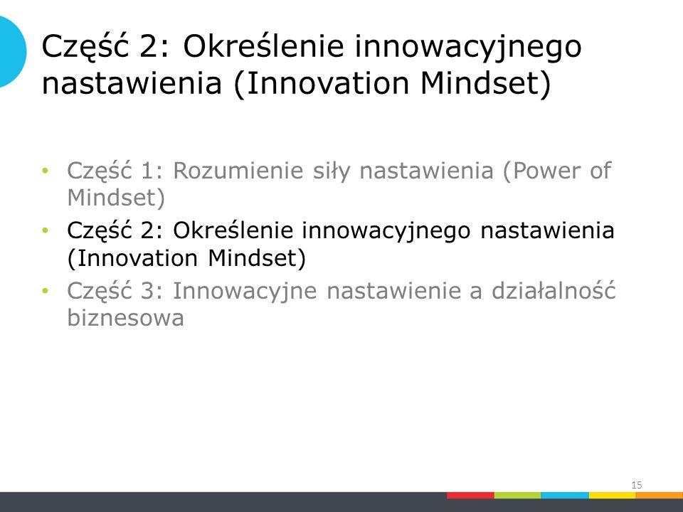 Część 2: Określenie innowacyjnego nastawienia (Innovation Mindset) Część 1: Rozumienie siły nastawienia (Power of Mindset) Część 2: Określenie innowacyjnego nastawienia (Innovation Mindset) Część 3: Innowacyjne nastawienie a działalność biznesowa 15