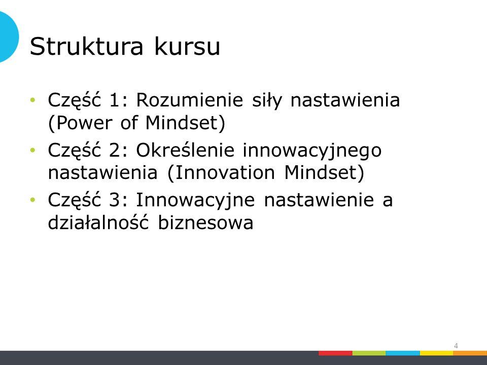 Struktura kursu Część 1: Rozumienie siły nastawienia (Power of Mindset) Część 2: Określenie innowacyjnego nastawienia (Innovation Mindset) Część 3: Innowacyjne nastawienie a działalność biznesowa 4