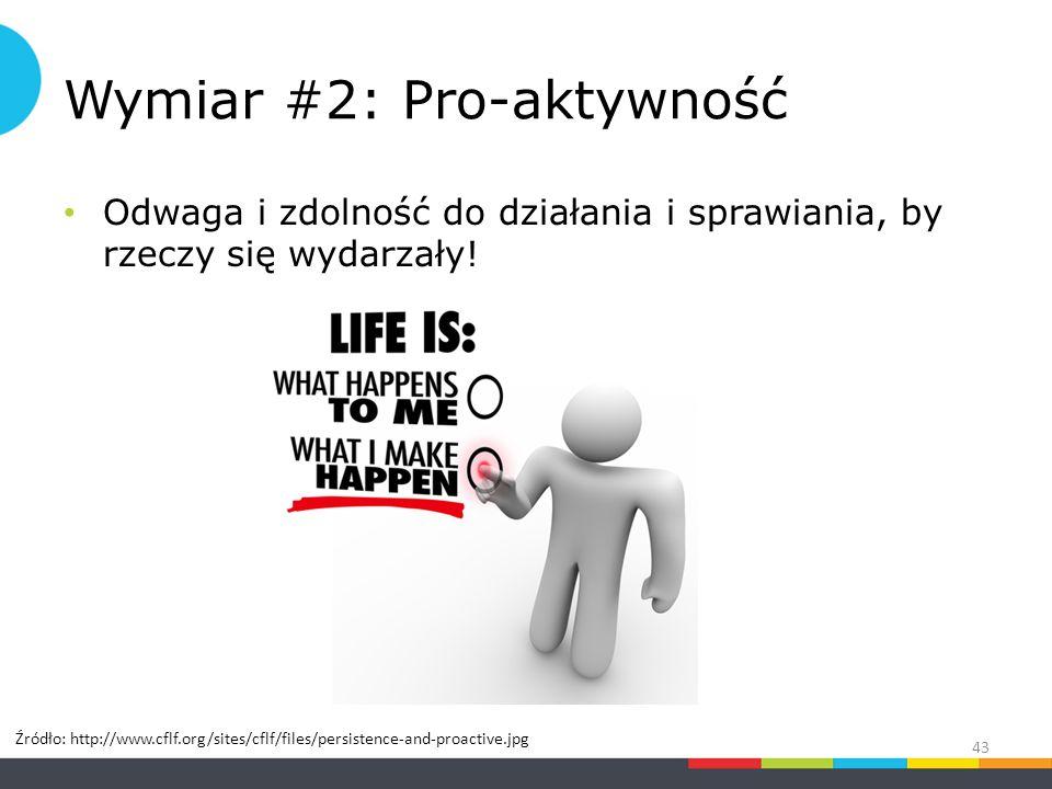 Wymiar #2: Pro-aktywność Odwaga i zdolność do działania i sprawiania, by rzeczy się wydarzały.