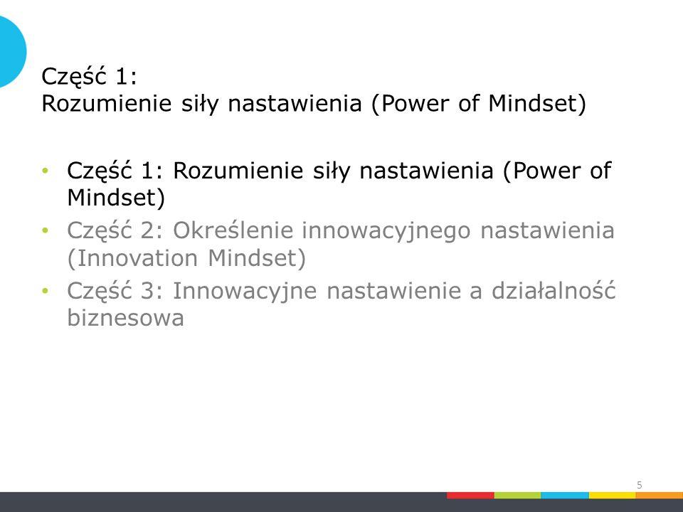 Część 1: Rozumienie siły nastawienia (Power of Mindset) Część 2: Określenie innowacyjnego nastawienia (Innovation Mindset) Część 3: Innowacyjne nastawienie a działalność biznesowa 5