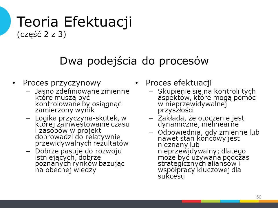 Teoria Efektuacji (część 2 z 3) Proces przyczynowy – Jasno zdefiniowane zmienne które muszą być kontrolowane by osiągnąć zamierzony wynik – Logika przyczyna-skutek, w której zainwestowanie czasu i zasobów w projekt doprowadzi do relatywnie przewidywalnych rezultatów – Dobrze pasuje do rozwoju istniejących, dobrze poznanych rynków bazując na obecnej wiedzy Proces efektuacji – Skupienie się na kontroli tych aspektów, które mogą pomóc w nieprzewidywalnej przyszłości – Zakłada, że otoczenie jest dynamiczne, nielinearne – Odpowiednia, gdy zmienne lub nawet stan końcowy jest nieznany lub nieprzewidywalny; dlatego może być używana podczas strategicznych aliansów i współpracy kluczowej dla sukcesu 50 Dwa podejścia do procesów