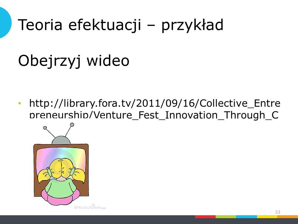 Teoria efektuacji – przykład Obejrzyj wideo http://library.fora.tv/2011/09/16/Collective_Entre preneurship/Venture_Fest_Innovation_Through_C ompetition 53