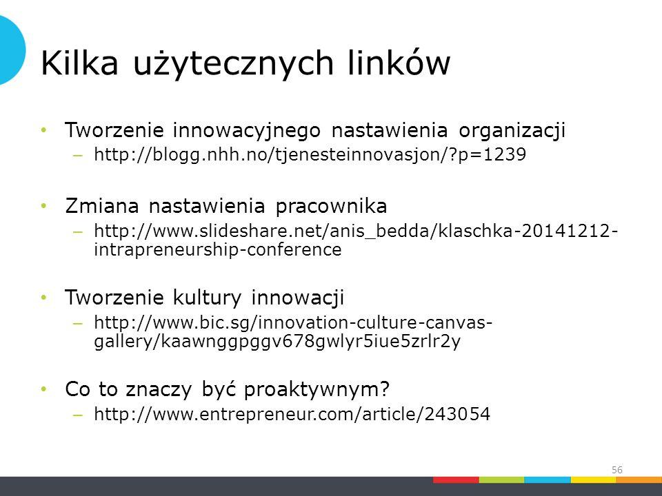 Kilka użytecznych linków Tworzenie innowacyjnego nastawienia organizacji – http://blogg.nhh.no/tjenesteinnovasjon/?p=1239 Zmiana nastawienia pracownika – http://www.slideshare.net/anis_bedda/klaschka-20141212- intrapreneurship-conference Tworzenie kultury innowacji – http://www.bic.sg/innovation-culture-canvas- gallery/kaawnggpggv678gwlyr5iue5zrlr2y Co to znaczy być proaktywnym.