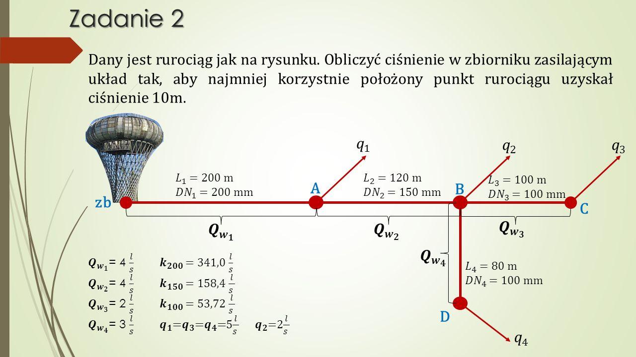 Zadanie 2 Dany jest rurociąg jak na rysunku. Obliczyć ciśnienie w zbiorniku zasilającym układ tak, aby najmniej korzystnie położony punkt rurociągu uz