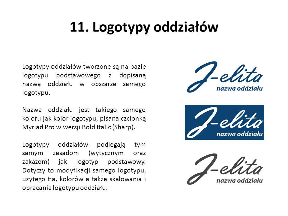 11. Logotypy oddziałów Logotypy oddziałów tworzone są na bazie logotypu podstawowego z dopisaną nazwą oddziału w obszarze samego logotypu. Nazwa oddzi