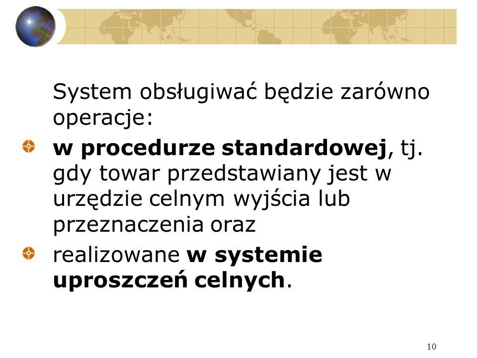 10 System obsługiwać będzie zarówno operacje: w procedurze standardowej, tj.
