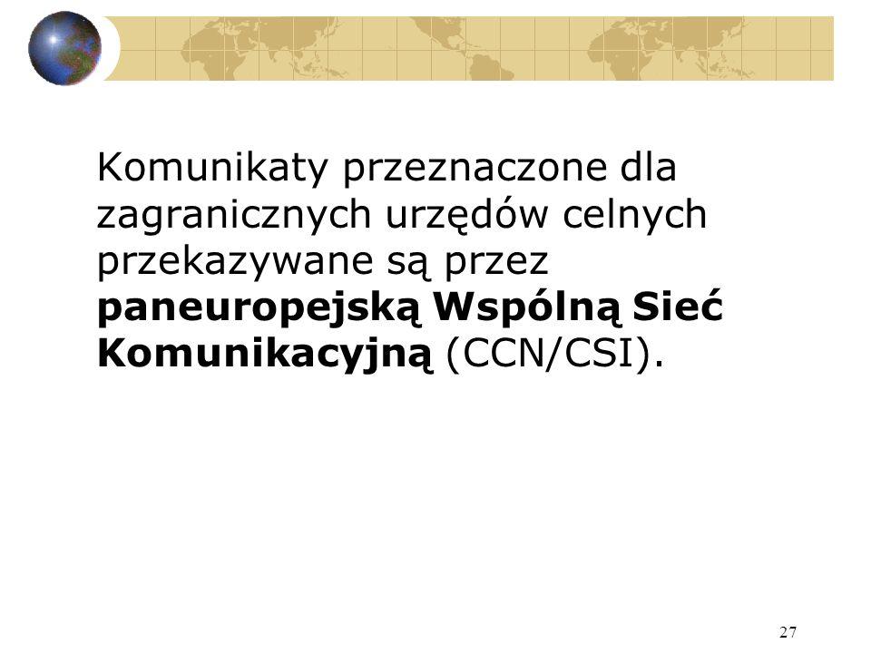 27 Komunikaty przeznaczone dla zagranicznych urzędów celnych przekazywane są przez paneuropejską Wspólną Sieć Komunikacyjną (CCN/CSI).