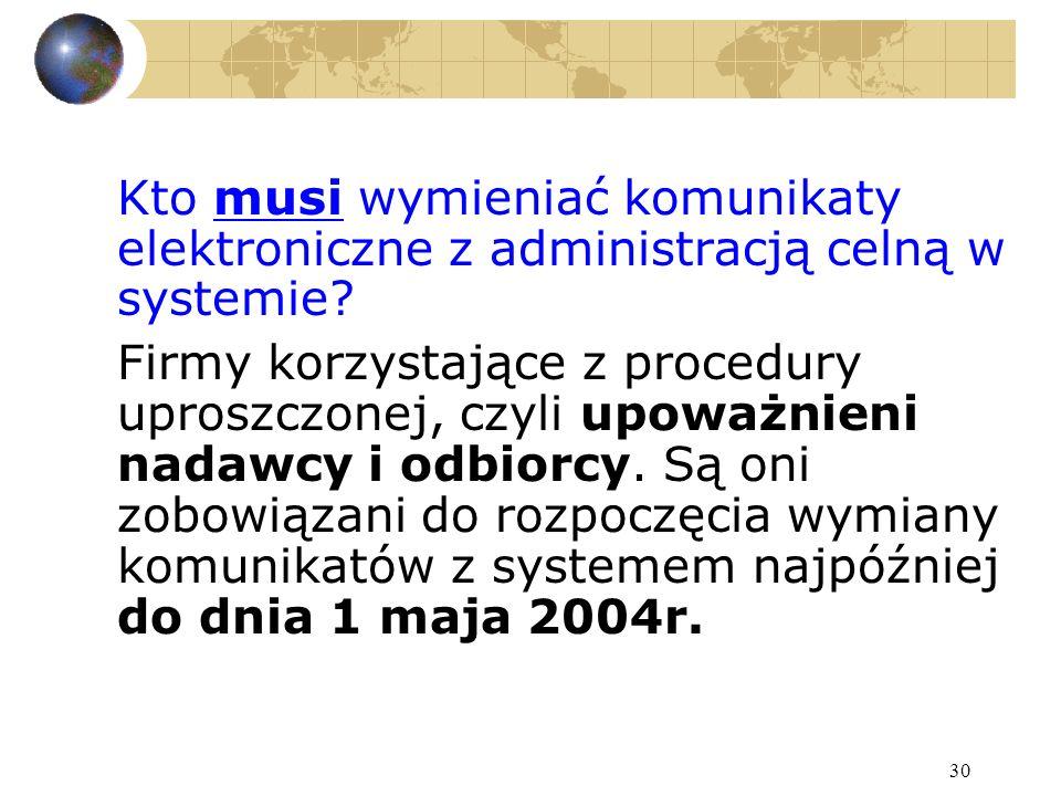 30 Kto musi wymieniać komunikaty elektroniczne z administracją celną w systemie.
