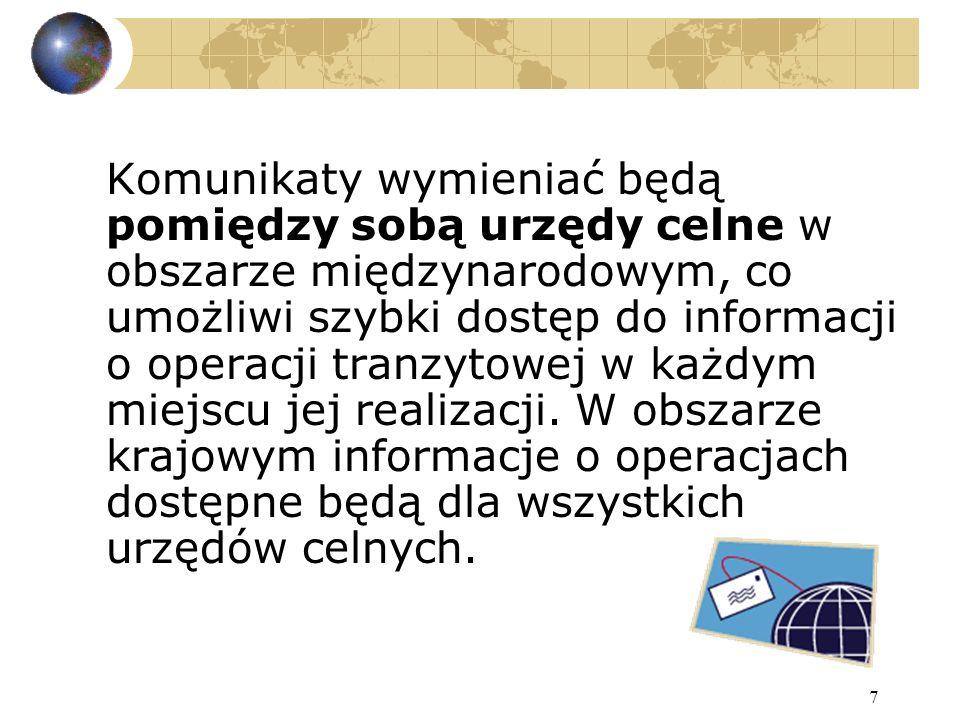 8 Wymiana komunikatów następować będzie również pomiędzy urzędami celnymi a podmiotami realizującymi operacje tranzytowe w systemie.