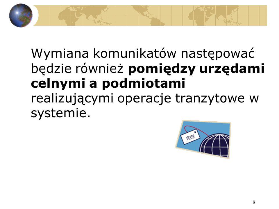 9 Dla kogo jest przeznaczony: Z systemu korzystać będą funkcjonariusze celni - podczas przetwarzania zgłoszenia celnego i monitorowania operacji tranzytowej oraz podmioty gospodarcze - na etapie składania zgłoszenia celnego, unieważnienia zgłoszenia celnego, zwalniania towarów do tranzytu, zakończenia operacji tranzytowej w urzędzie przeznaczenia oraz zamykania operacji w urzędzie wyjścia.