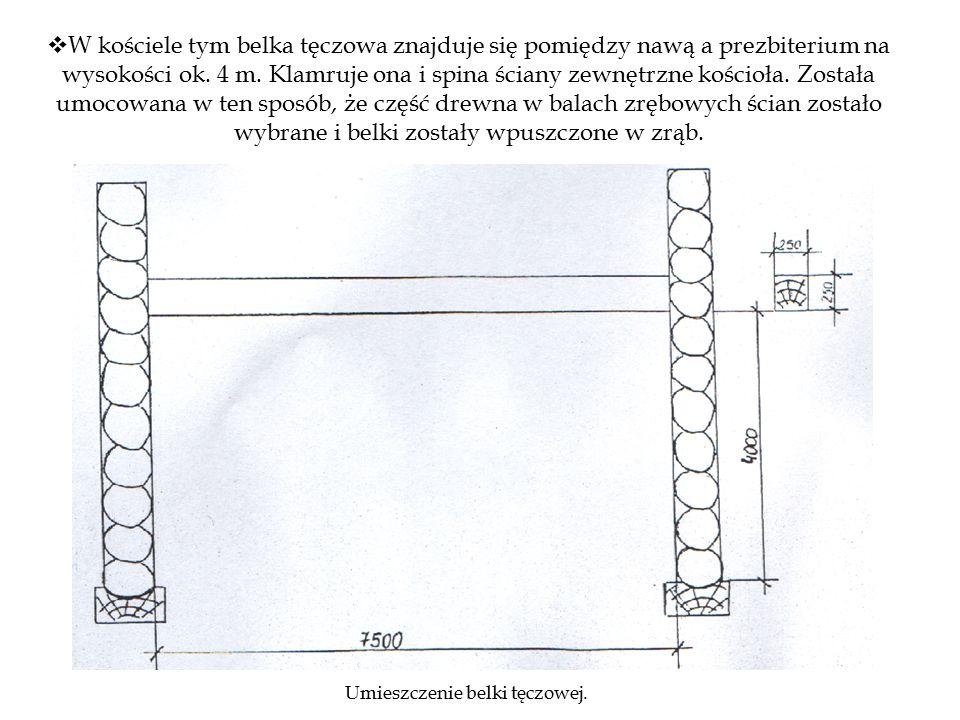""" Elementy ścian wieńcowych łączą się na narożach na węgieł zwany """"jaskółczym ogonem , w których końcówki bali mają kształt trapezów o zwężeniach w odpowiednim kierunku i zabezpieczają w ten sposób złącza przed rozsunięciem."""