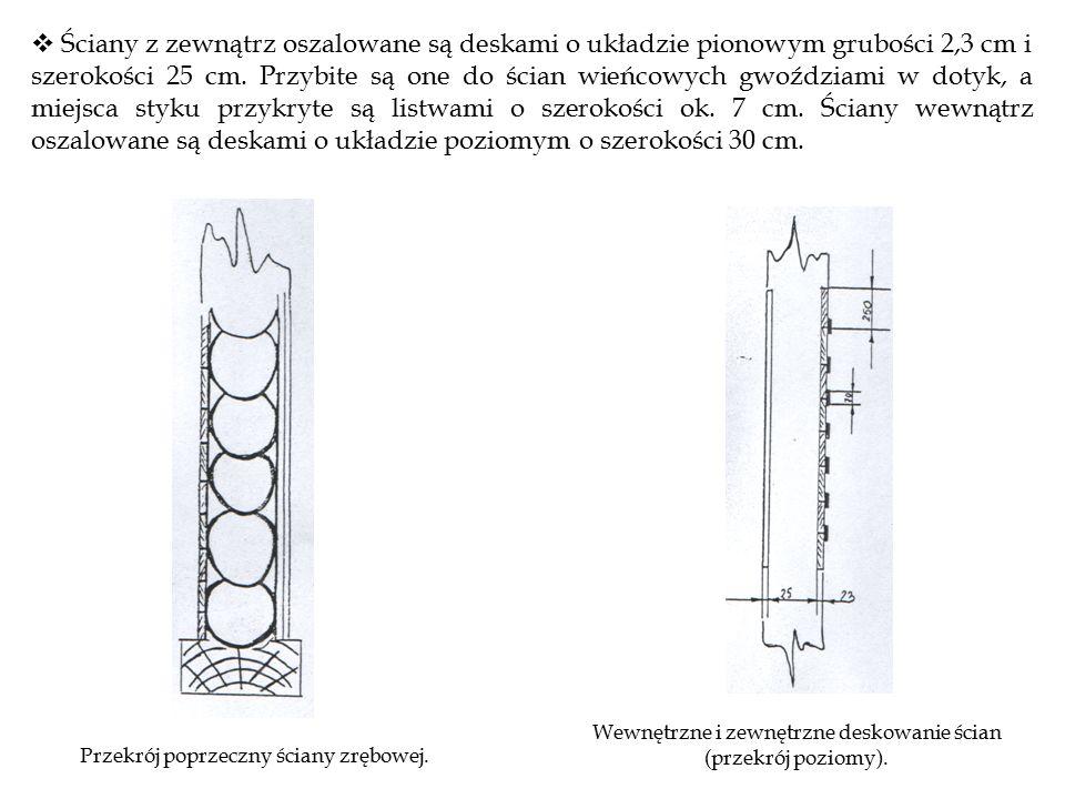  Ściany z zewnątrz oszalowane są deskami o układzie pionowym grubości 2,3 cm i szerokości 25 cm.
