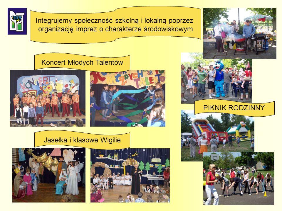 Jasełka i klasowe Wigilie PIKNIK RODZINNY Koncert Młodych Talentów Integrujemy społeczność szkolną i lokalną poprzez organizację imprez o charakterze środowiskowym