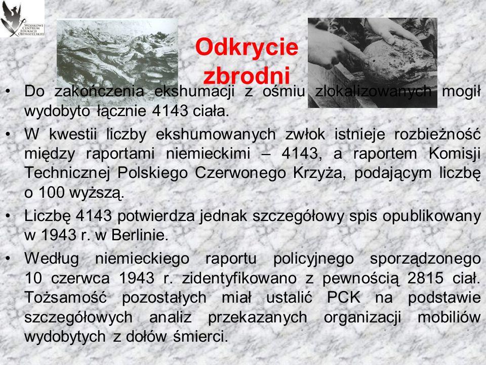 Odkrycie zbrodni Niezależnie od polskich i niemieckich ekspertów, między 28 a 30 kwietnia badania w Katyniu prowadziła tzw.