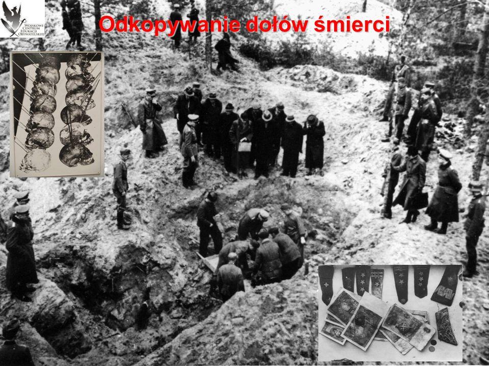 Odkrycie zbrodni Wszystkie niezależnie od siebie pracujące komisje sporządziły oficjalne sprawozdania, zawierające bardzo podobne wnioski:  wszystkie zgodnie orzekły, iż ofiary zostały zabite metodą charakterystyczną dla NKWD – przez strzał w tył głowy oddany z przyłożenia lub bezpośredniej bliskości;  duża liczba łusek znalezionych w pobliżu mogił wskazywała na to, iż mordu dokonano nad dołami śmierci lub nawet w nich samych;  mimo że zróżnicowany rozkład zwłok uniemożliwiał precyzyjne określenie czasu ich spoczywania w ziemi, to dowody pośrednie wskazywały, iż zakopano je porą zimową;  wszyscy eksperci byli zgodni, że choć zabitych może być więcej niż 4143 ekshumowanych, ale na pewno nie było ich 12 tys., jak podawała niemiecka propaganda.