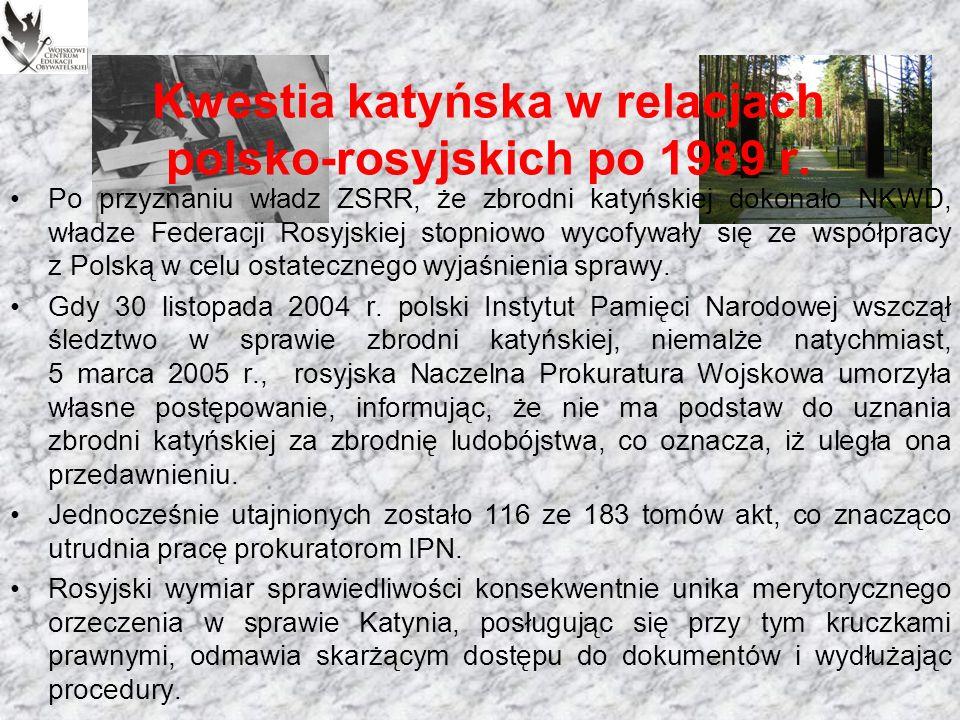 Fałszerstwa i walka o prawdę Podejmowano inne działania w celu upowszechniania prawdy o sprawie Katynia, działał m.in.