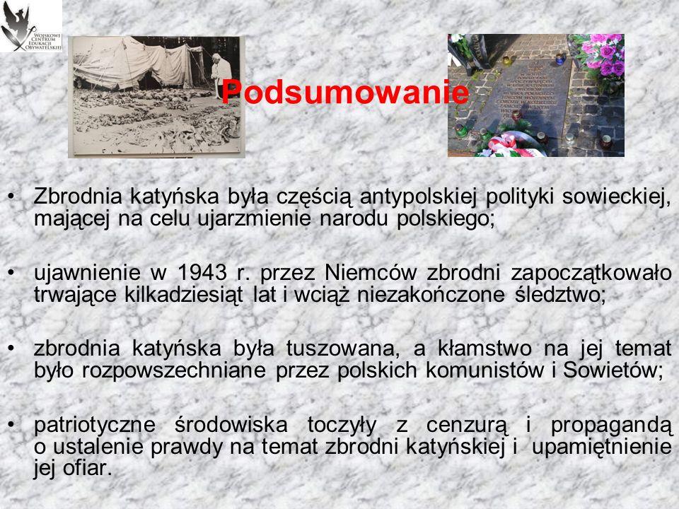 Pamięć Ważnym wydarzeniem dla upamiętnienia zamordowanych przez Sowietów w 1940 r.